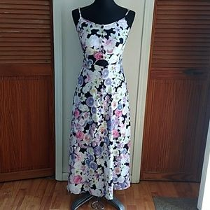 FLORAL MAXI DRESS WITH MIDRIFF CUTOUT SIZE 2